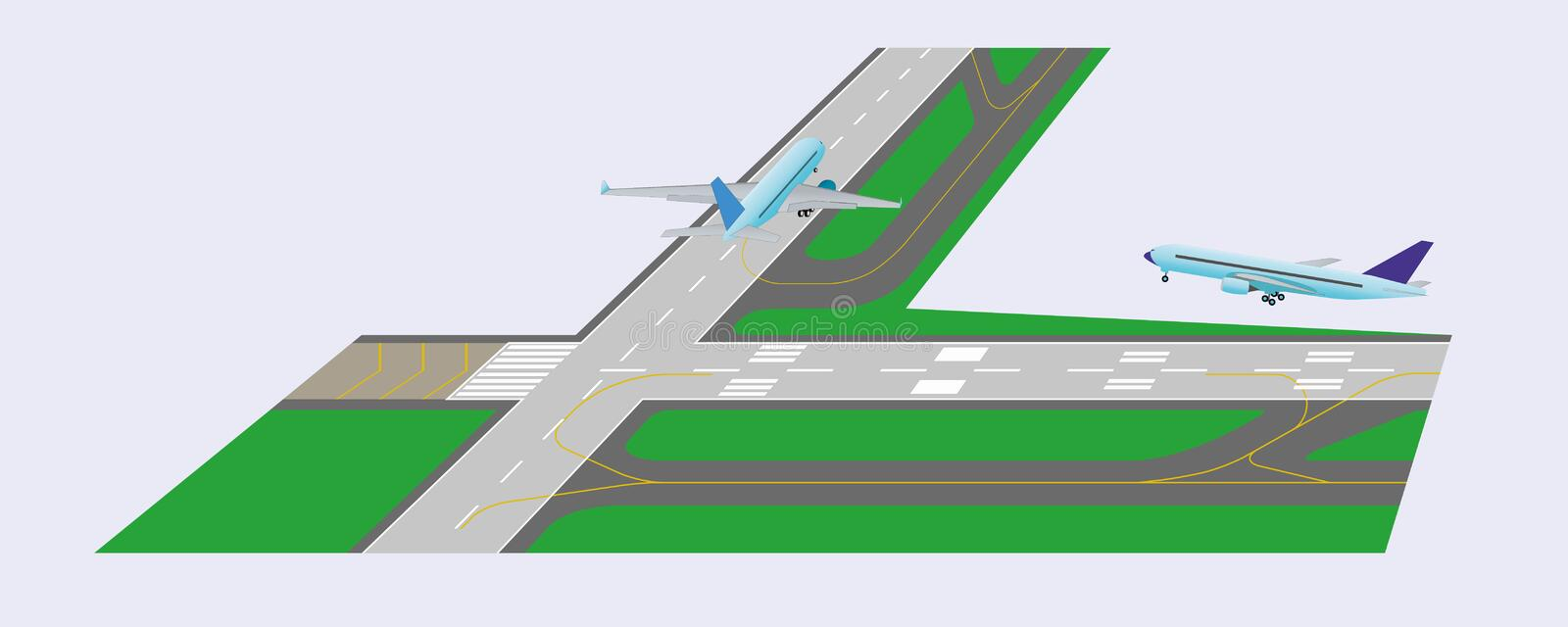 Airplane takeoff from runway. Airplane taxi on runway and airplane takeoff from runway. Perspective view. Vector illustration. Eps 10 stock illustration