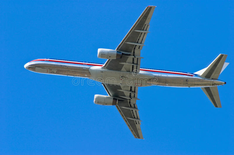 Airplane takes off royalty free stock image