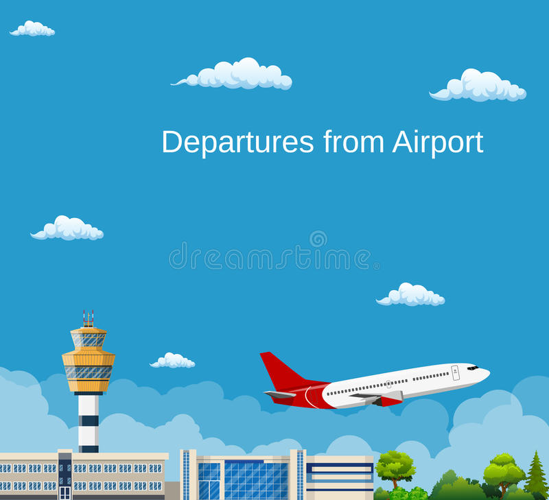 Airplane Takes Off from the Airport , vector illustration