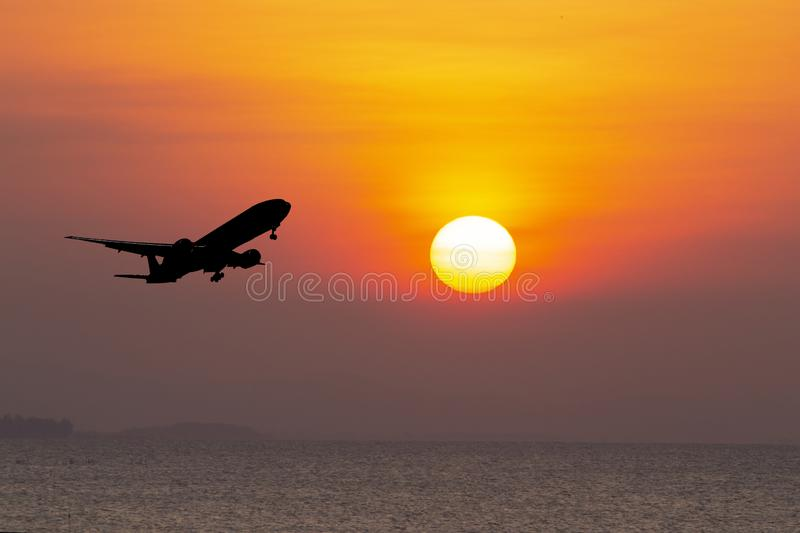 Airplane taking off airport sky-diving industry cargo business, concept: passenger Commercial modern navigable Travel and royalty free stock image