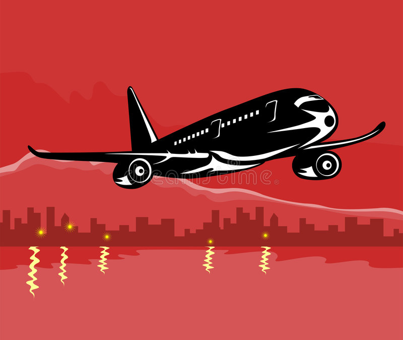 Download Airplane Taking Off With Build Stock Vector - Illustration of harbor, skyscraper: 3820465