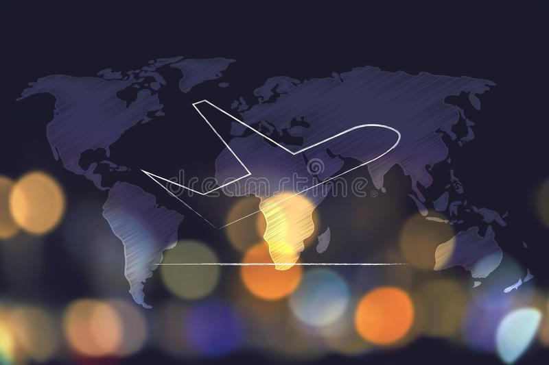 Airplane taking off over world map overlay and nighttime city bo download airplane taking off over world map overlay and nighttime city bo stock illustration image gumiabroncs Choice Image