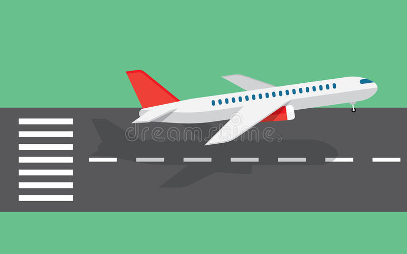 Airplane taking off from the runway. Airplane taking off or landing from the runway vector illustration