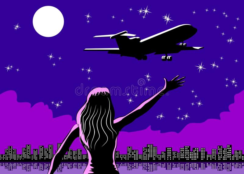Download Airplane Taking Off And Woman Saying Goodbye Stock Image - Image: 32916443