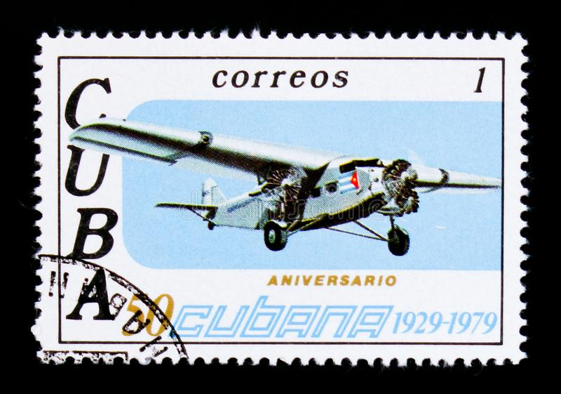 Airplane, 50th Anniversary of Airline CUBANA serie, circa 1979. MOSCOW, RUSSIA - SEPTEMBER 3, 2017: A stamp printed in Cuba shows Airplane, 50th Anniversary of royalty free stock photo