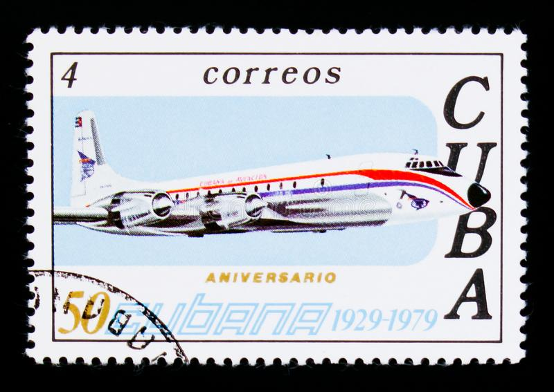 Airplane, 50th Anniversary of Airline CUBANA serie, circa 1979. MOSCOW, RUSSIA - SEPTEMBER 3, 2017: A stamp printed in Cuba shows Airplane, 50th Anniversary of royalty free stock photography