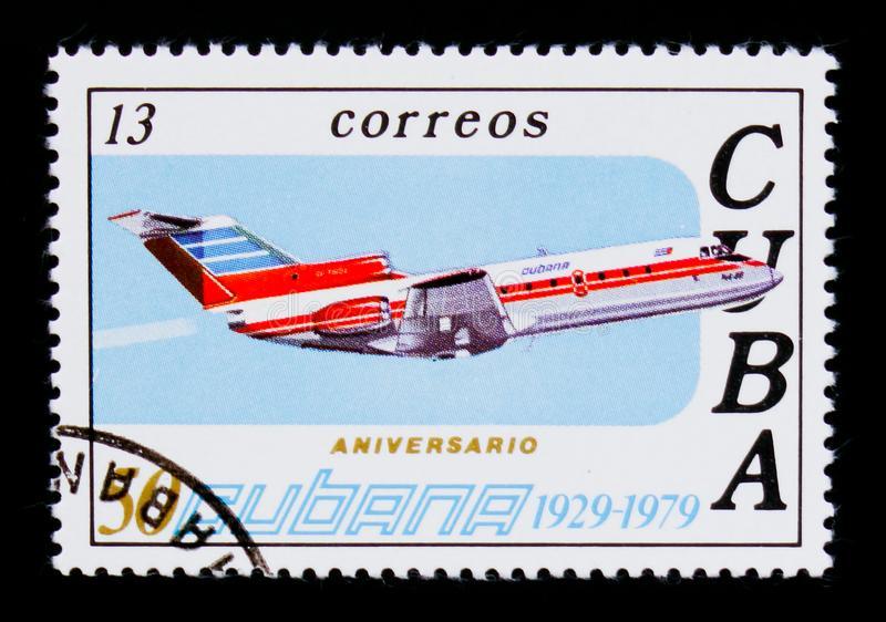 Airplane, 50th Anniversary of Airline CUBANA serie, circa 1979. MOSCOW, RUSSIA - SEPTEMBER 3, 2017: A stamp printed in Cuba shows Airplane, 50th Anniversary of royalty free stock images