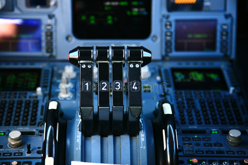 Airplane Throttle Levers : Airplane throttle royalty free stock image
