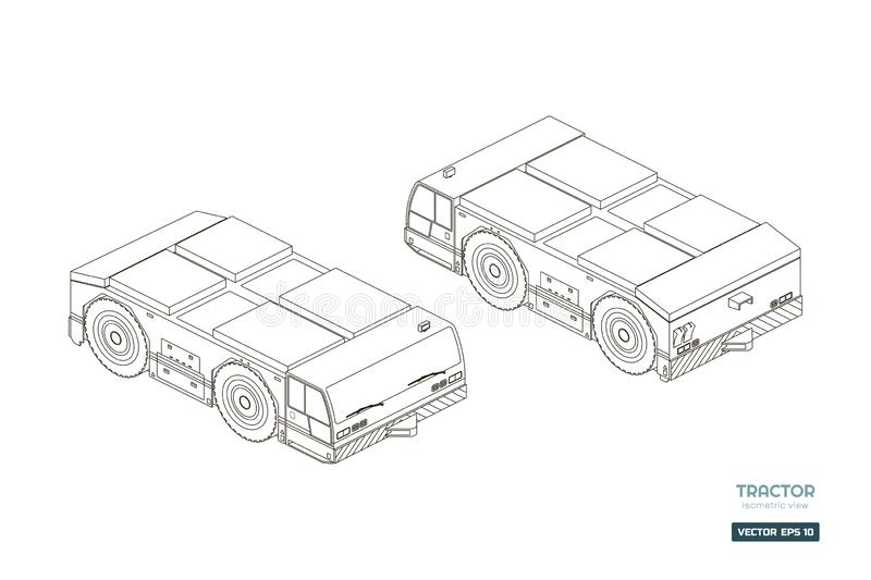 Airplane towing vehicle in isometric style. Outline blueprint. Repair and maintenance of aircraft. Airfield transport. Industrial drawing of 3d car. Vector royalty free illustration