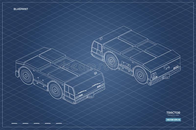 Airplane towing vehicle in isometric style. Outline blueprint. Repair and maintenance of aircraft. Airfield transport. Industrial drawing of 3d car. Vector vector illustration