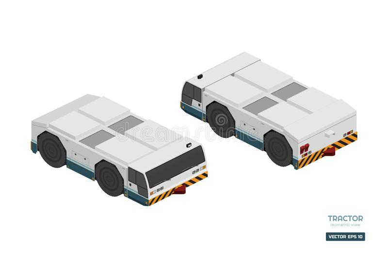 Airplane towing vehicle in isometric style. Repair and maintenance of aircraft. Airfield transport. Industrial drawing. Of 3d car. Vector isolated illustration royalty free illustration