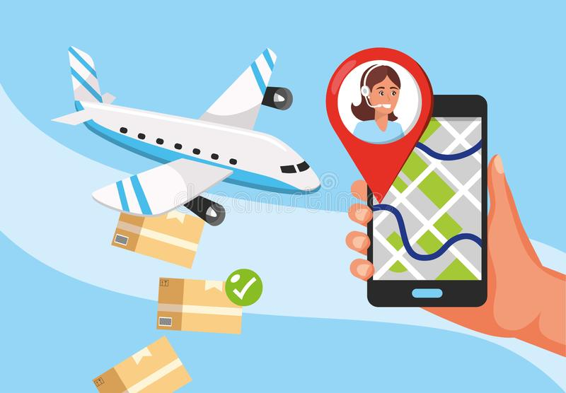 Airplane transport and hand with gps location and call center service. Vector illustration stock illustration