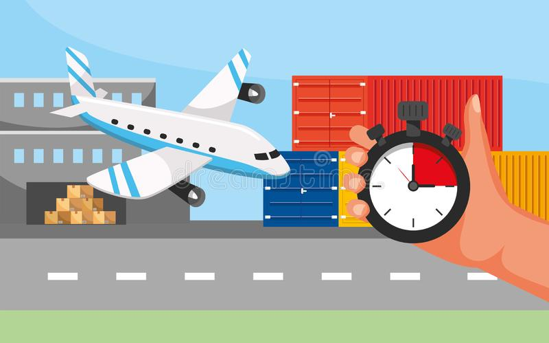 Airplane transport and hand with gps location and call center service. Vector illustration vector illustration