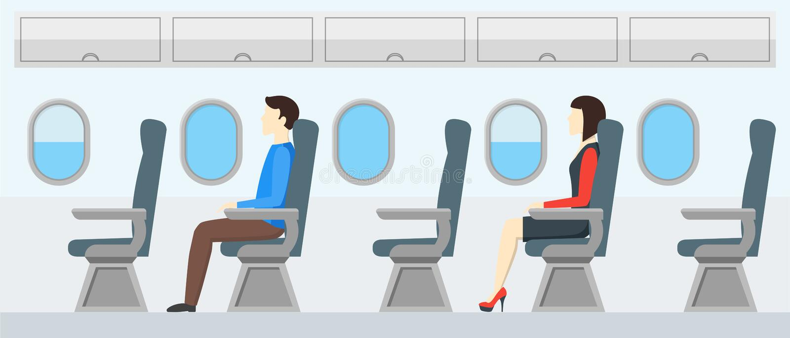 Airplane Transport Interior Retro. Travel Passengers in Jet. Vector stock illustration
