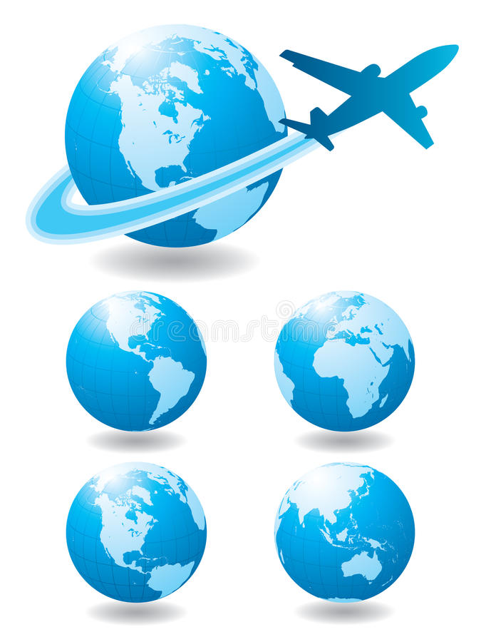 Airplane travel. High detail illustration of globes and airplane