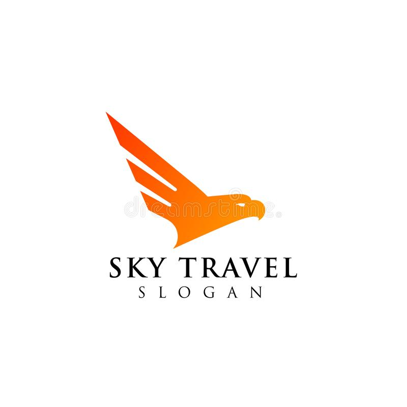 Airplane travel agency logo design with an eagle head illustrations. Airplane travel agency logo design with an eagle head illustration royalty free illustration