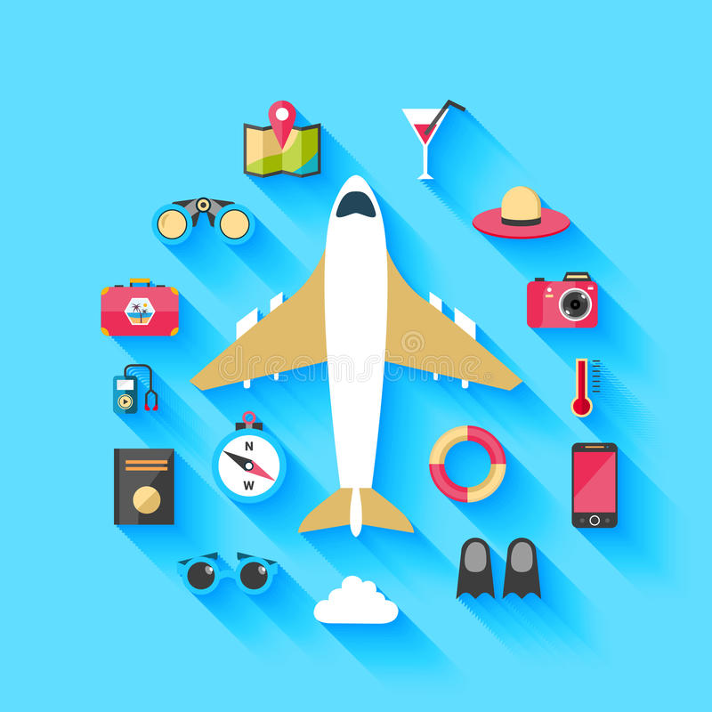Airplane travel concept background poster vector illustration