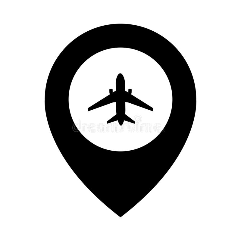 Airplane travel concept with pins for maps, GPS points. Location marker logo. Concept or theme of starting point of flight. Location travel symbol royalty free illustration