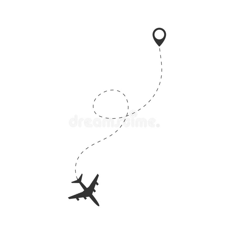Airplane travel concept. Plane with destinations points and dash route line. royalty free illustration