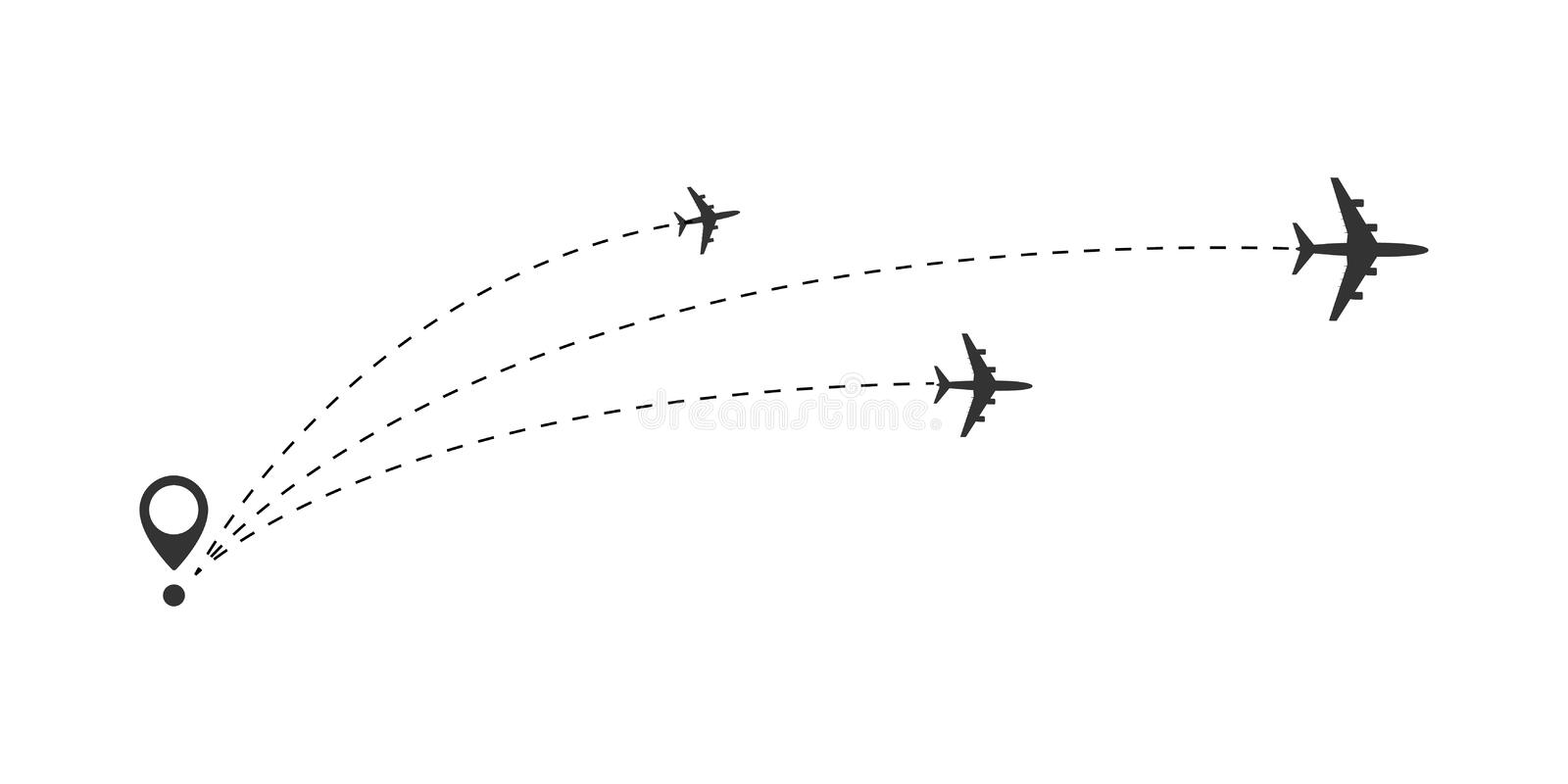 Airplane travel concept. Plane with start point and route dash line. Flight vector illustration royalty free illustration