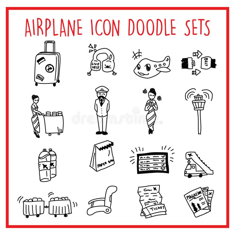 Airplane-Travel-Line-Icon-Doodle-Packs. Vector icons set of many Airplane icon objects. All elements easy to modify – you can change colors, size royalty free illustration