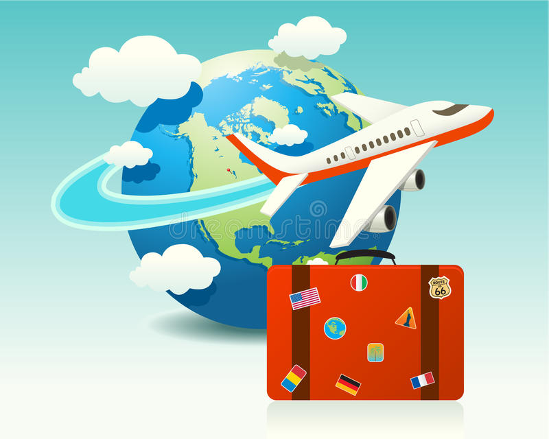 Airplane Travel with Luggage vector illustration