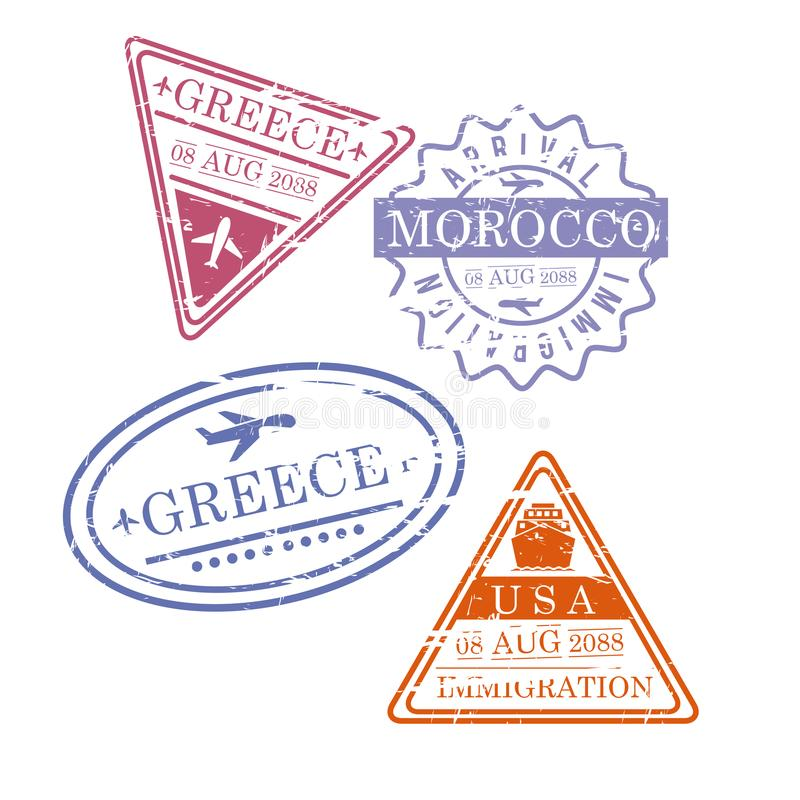Airplane travel stamps greece morocco usa in colorful silhouette vector illustration