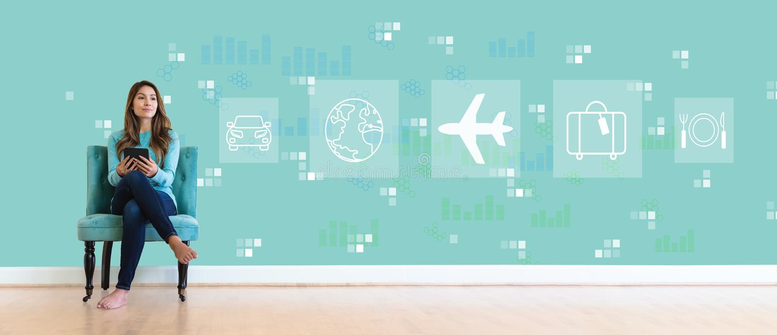 Airplane travel theme with young woman royalty free stock photography