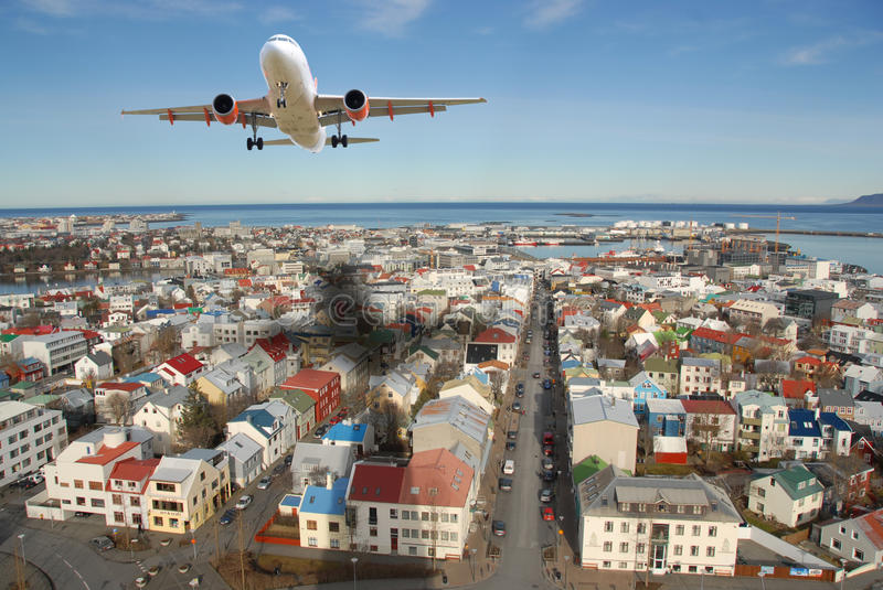 Airplane travelling royalty free stock photos