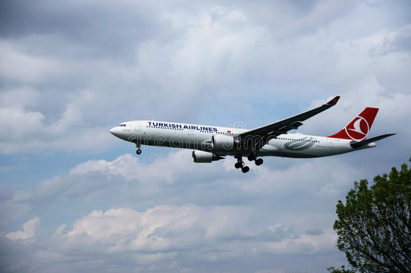 Airplane of TURKISH AIRLINES stock image