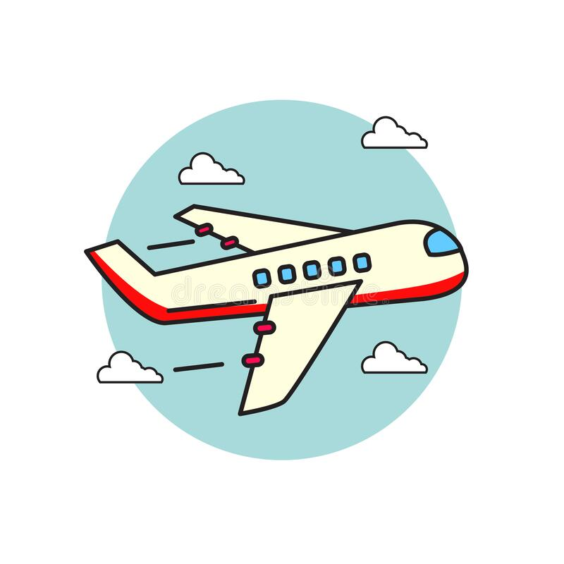 Airplane vector illustration in cartoon style isolated on white background. Airplane icon in linear color style stock illustration
