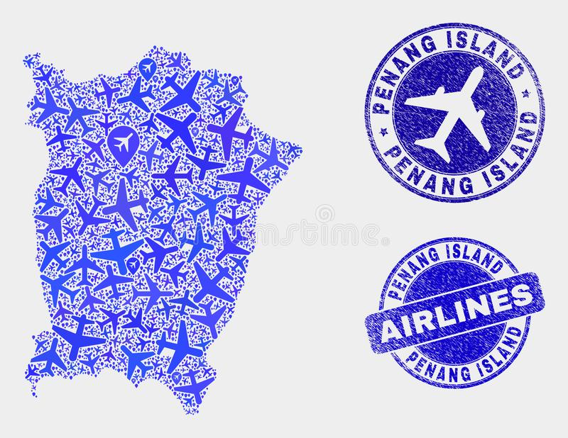 Airline Composition Vector Penang Island Map and Grunge Stamps. Airplane vector Penang Island map composition and grunge watermarks. Abstract Penang Island map vector illustration