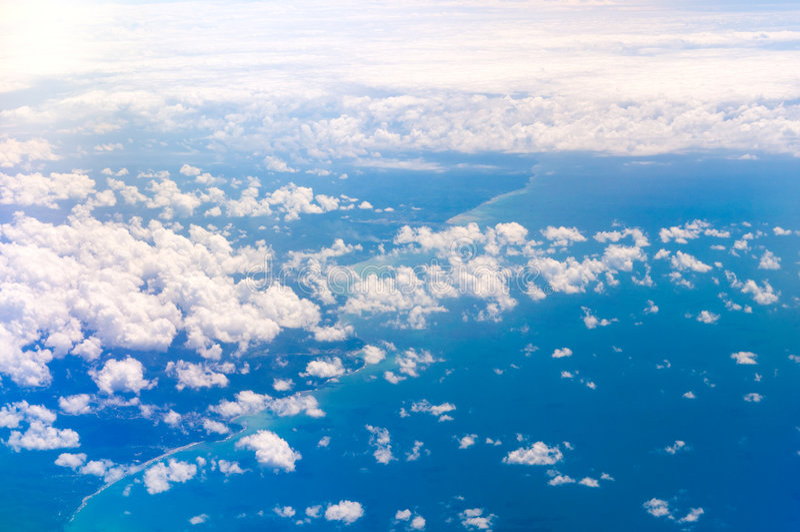 Airplane view: coast royalty free stock photo