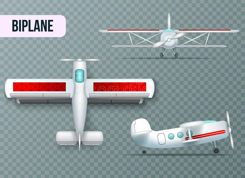 Airplane Views Set Transparent Realistic royalty free illustration