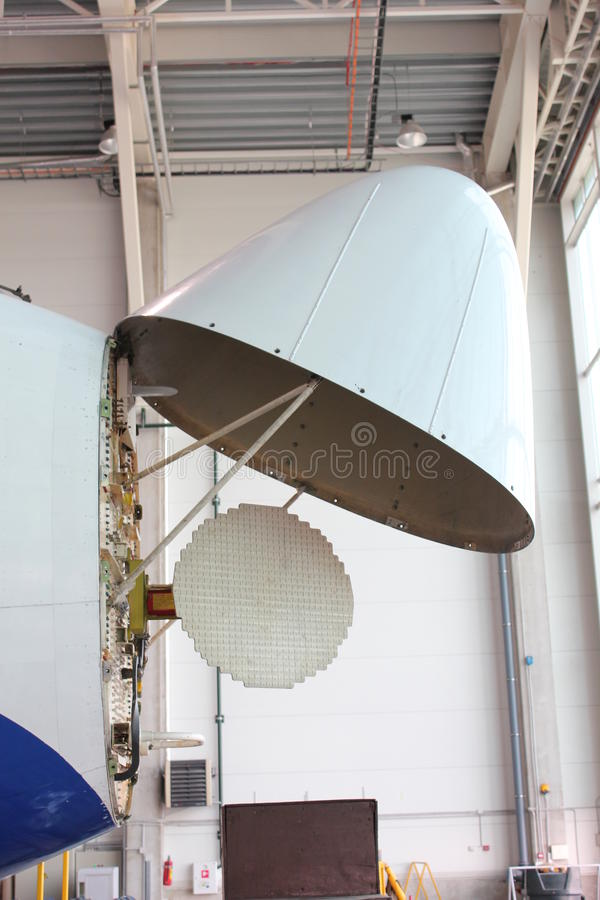Airplane weather radar stock image