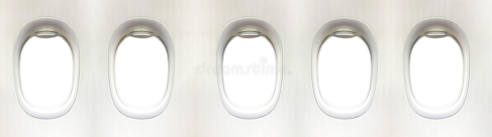 Airplane window and space for your design, 5 plane window, clipping path stock photo