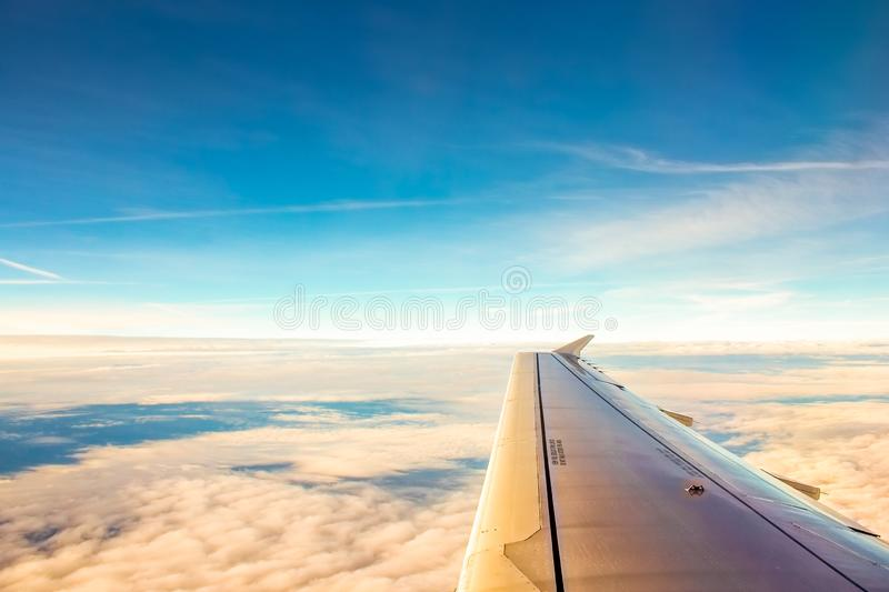 Cloudscape view from airplane window royalty free stock photos