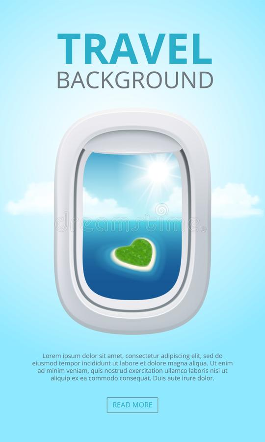 Airplane window views. Closeup portholes business aircraft blue clean shine sky air. Travel vector realistic background. Illustration. Airplane porthole stock illustration