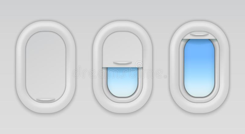 Airplane windows. Aircraft portholes with blue sky and fuselage background, vector open closed and half closed types of. Plane window in wall aeroplane stock illustration