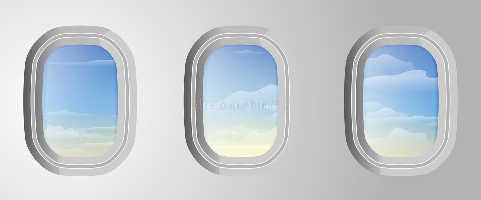 Airplane windows with cloudy blue sky outside. View from airplane. Sky with clouds in aircraft window. Vector illustration stock illustration