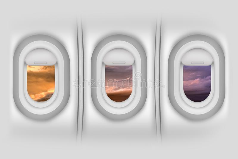 Airplane Windows. / Porthole - Aircraft Side Passengers Windows From Inside. Beautiful Sunset Outside. Airplanes / Flight Illustration. Detailed Illustration stock illustration