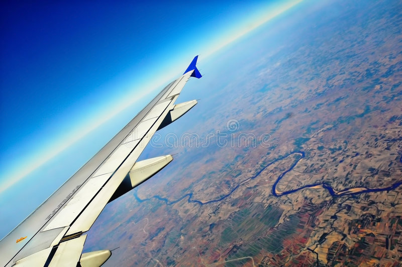 Download Airplane Wing stock image. Image of airplane, white, aerial - 8859611