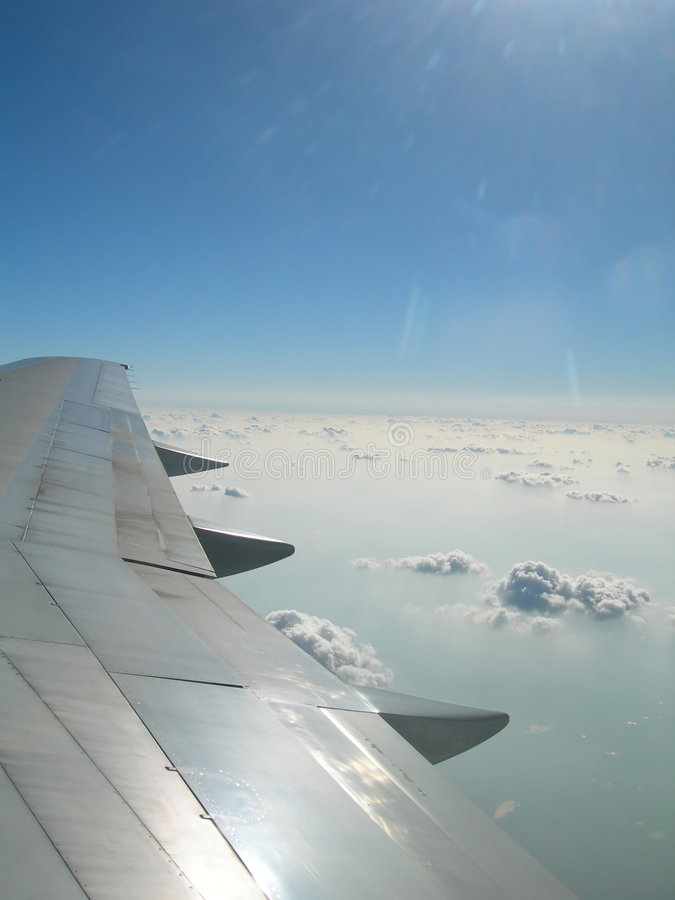 Free Airplane Wing Against Horizon Stock Photography - 2021572