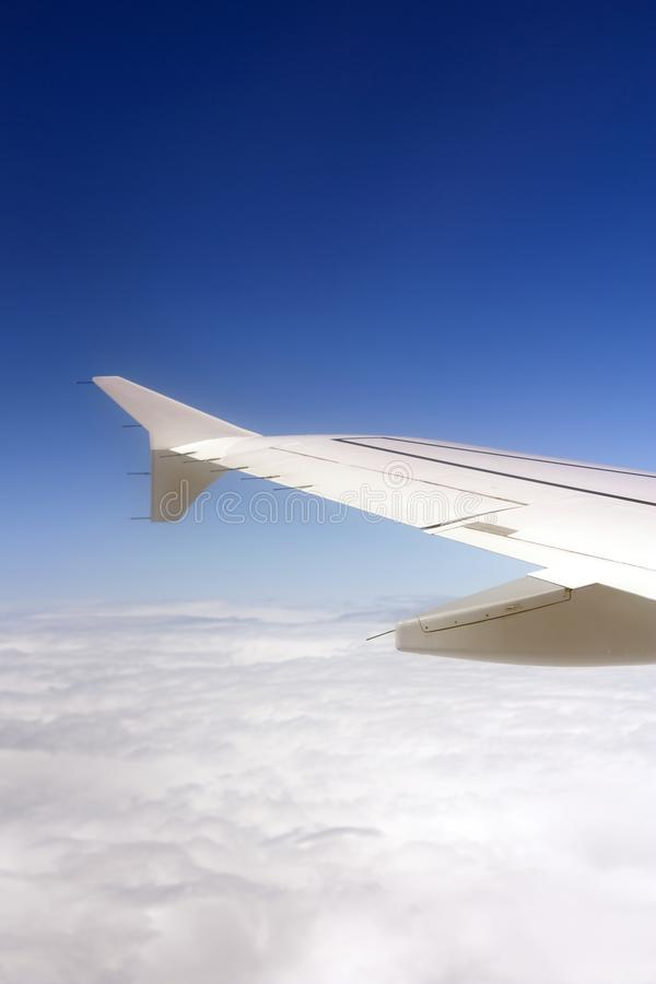 Airplane wing in the air stock photos