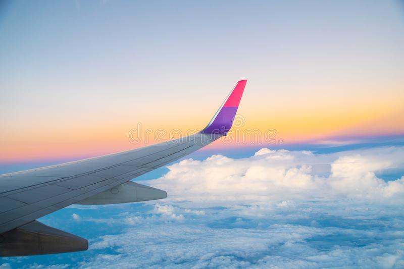 Airplane Wing in Flight from window, royalty free stock image