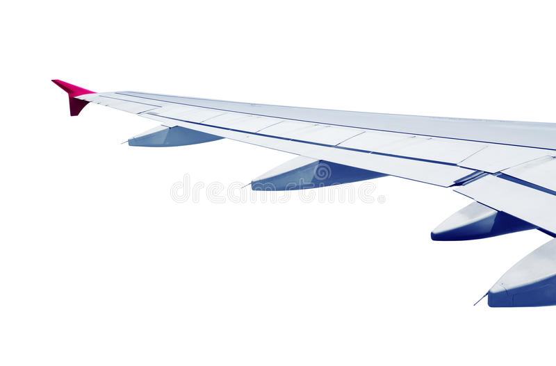 Airplane wing isolated. On white background royalty free stock photography