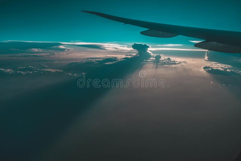 Airplane Wing on Mid Air royalty free stock photography