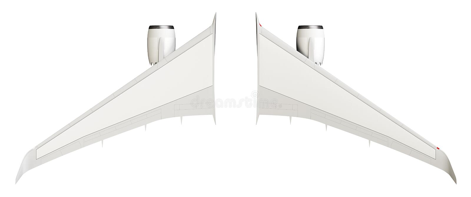 Airplane wings. Isolated on white background, top view royalty free stock photography