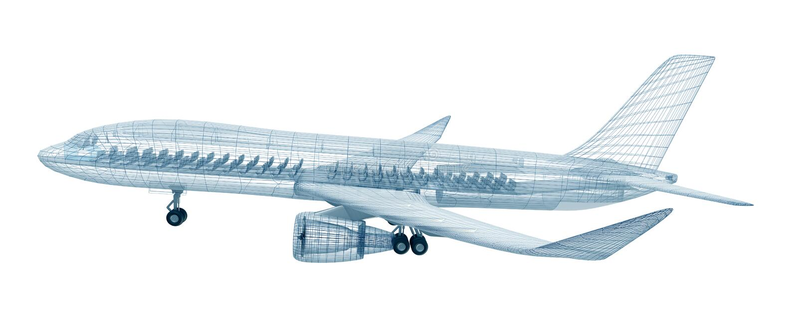 Airplane wire model , isolated on white vector illustration