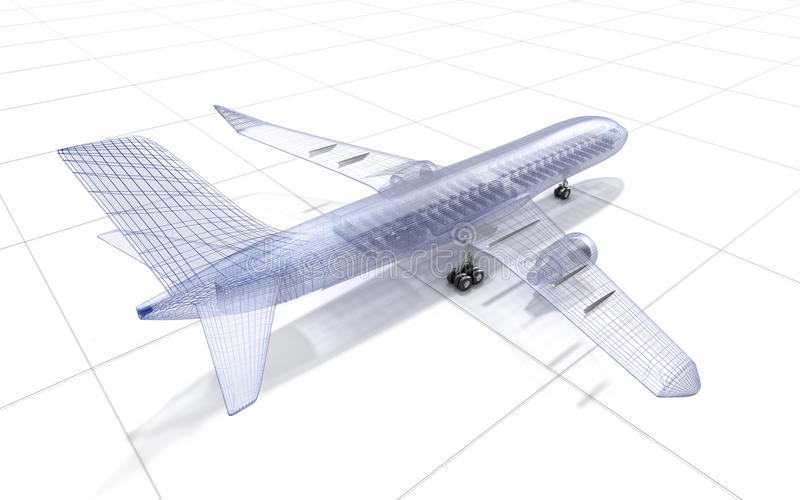 Airplane wire model , on white vector illustration